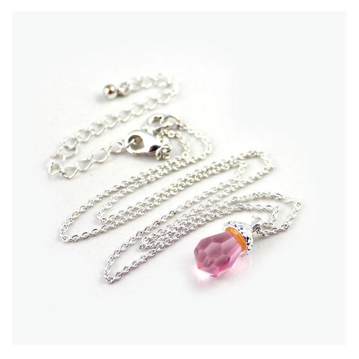CUTE PINK BABY CHAIR BABY BOTTLE PINK PENDANT SILVER NECKLACE