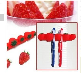 Cute Strawberry Four Slot Suction Toothbrush Holder