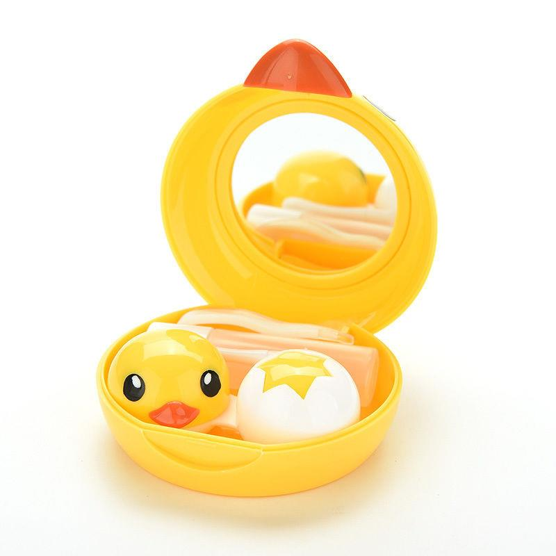 Cute Yellow Duck Contact Lens Case With Mirror