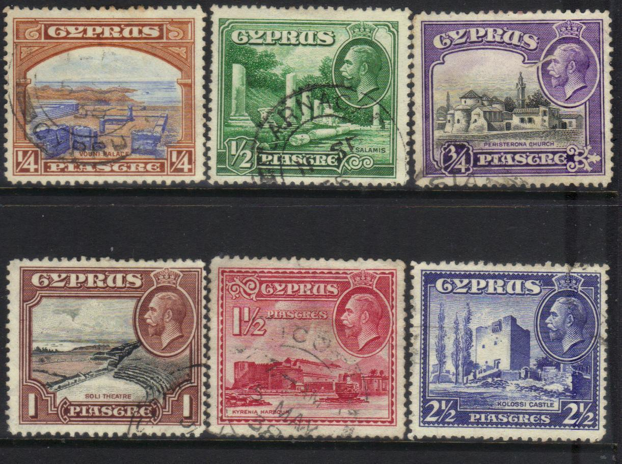 CYPRUS KGV 1934 DEFINITIVES USED CAT £8+ BJ227