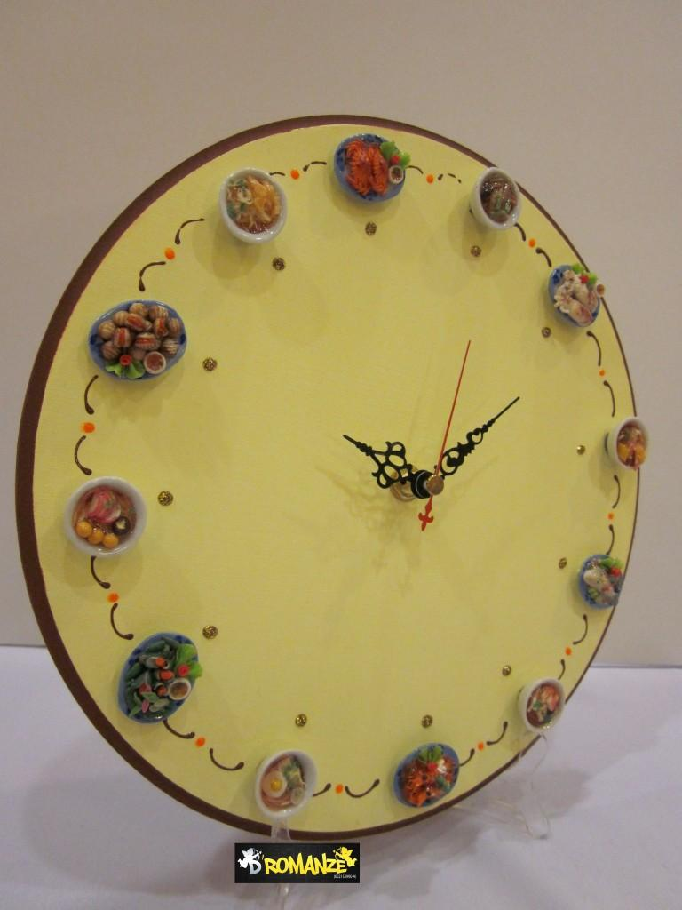 D 39 Clay Handmade Unique Clock With Miniature Dishes End 7