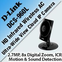 D-LINK DCS-960L INFRARED WIRELESS AC ULTRA-WIDE VIEW CLOUD IP CAMERA