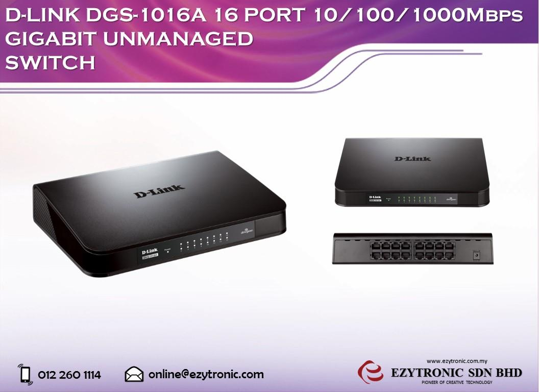 D-LINK DGS-1016A 16 PORT 10/100/1000Mbps Gigabit Unmanaged Switch