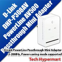 D-LINK DHP-P308AV POWERLINE PASSTHROUGH MINI ADAPTER