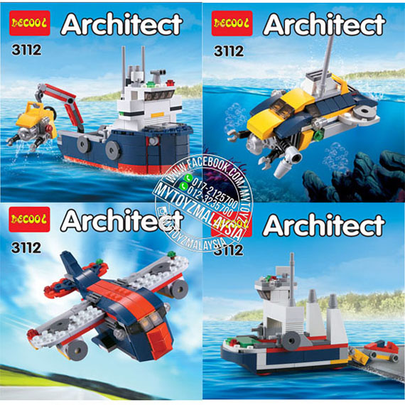 Decool 3112 Architect 4 in 1 Ocean Explorer Building Blocks