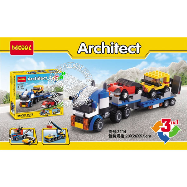 Decool 3114 Architect 3 in 1 Vehicle Transporter Building Blocks