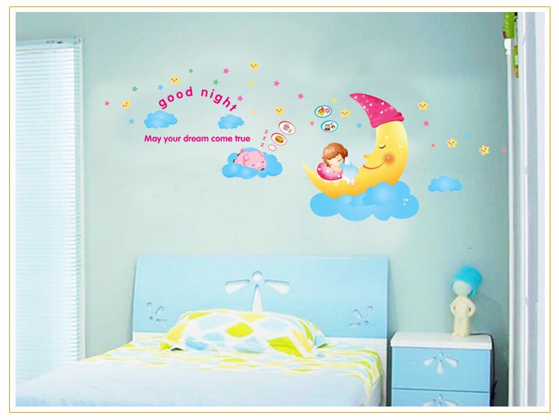 Decorative Wall Stickers AY1907 Smiley Moon