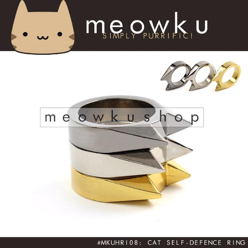 Defensive Cat Ring (Sharp Solid Metal Ring Safety Panic Defense Self)