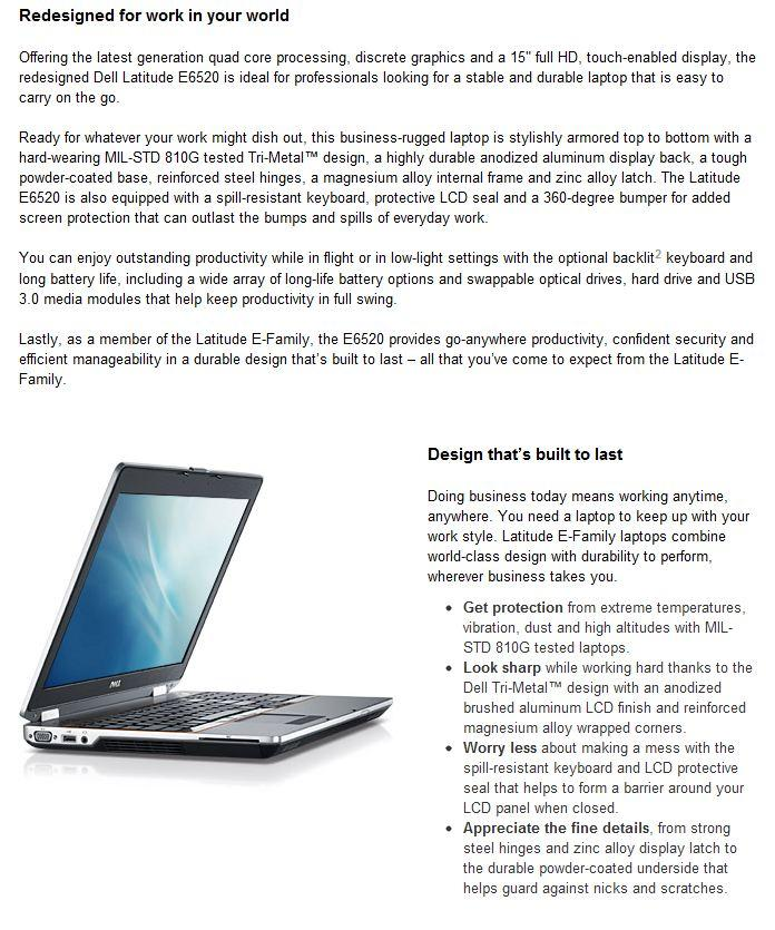 Dell Latitude E6520 Laptop~ i5-2520M, Win 7 PRO, 256 Mobility Solid St..