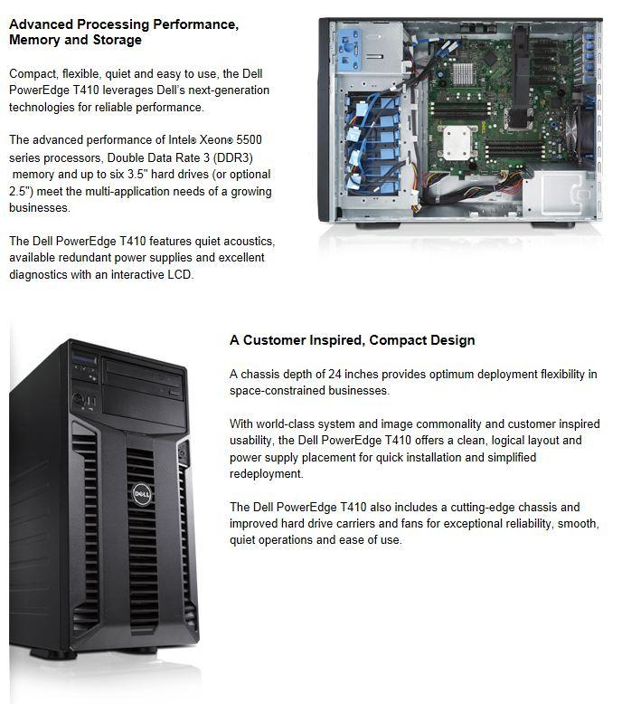 Dell PowerEdge T410 Tower Server (New) ~ E5620, 8GB Memory, 2's x 1TB
