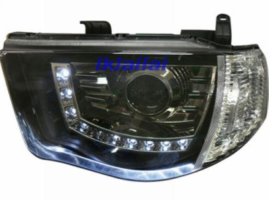 DEPO Mitsubishi Triton '06 LED DRL R8 Projector Head Lamp Black