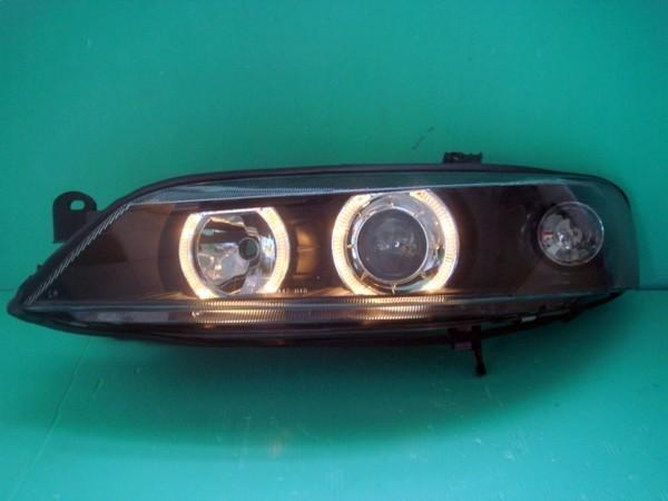DEPO OPEL Vectra B '96-99 Crystal Projector Head Lamp LED Ring [Black