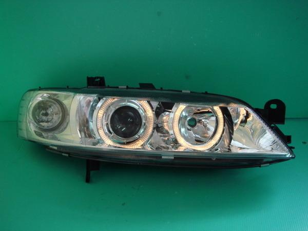 DEPO OPEL Vectra B '96-99 Crystal Projector Head Lamp LED Ring [Chrome