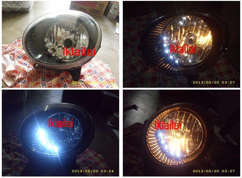 DEPO Perodua Kancil '02 Head Lamp Crystal Black with DRL LED per pair