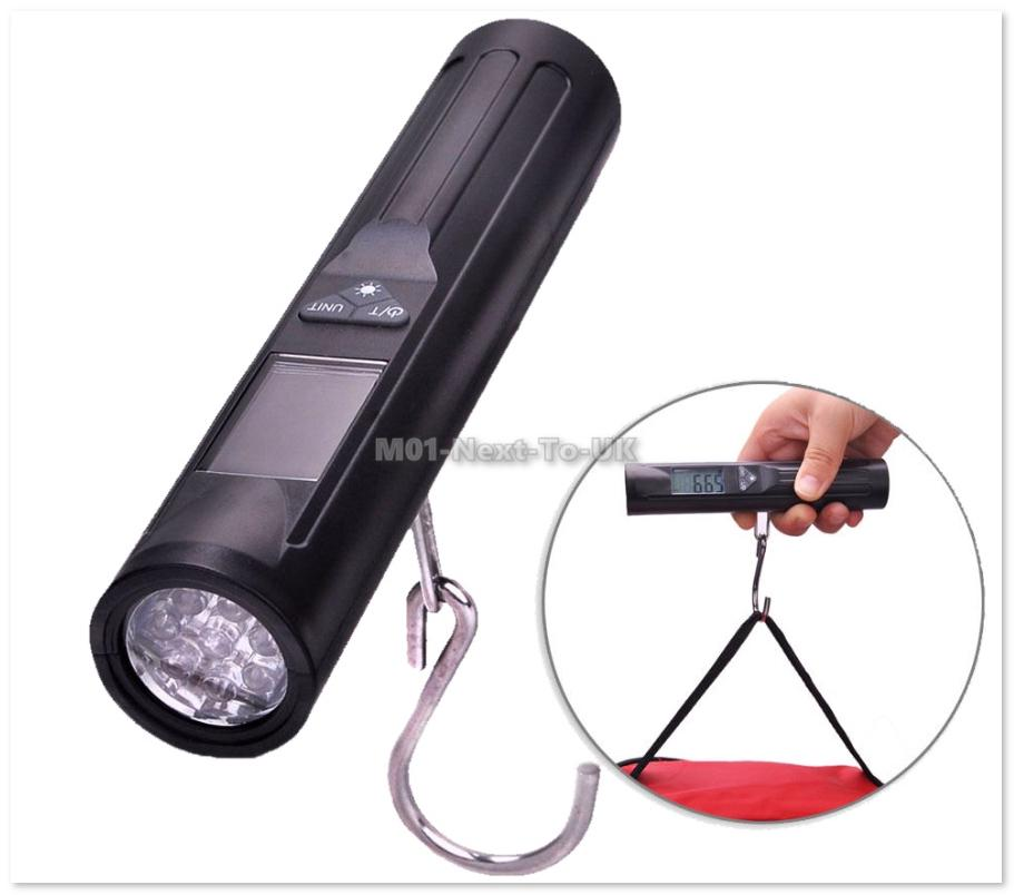 Digital Luggage Scale w/LED White Torch Portable Hanging Hook Scale 40
