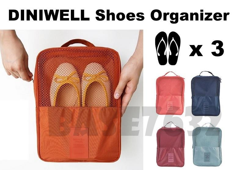 DINIWELL  Luggage Travel Shoes Storage Organizer Bag 3 PAIR Shoe