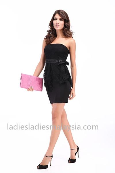 Dinner dress lace ribbon flower stretchable tube dress