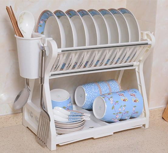 Dish Drainer 2 Layer Washing Plates Rack Trendy Design