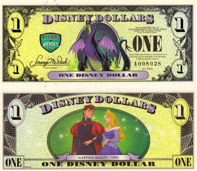 Disney Dollar 2013 banknote - Sleeping Beauty