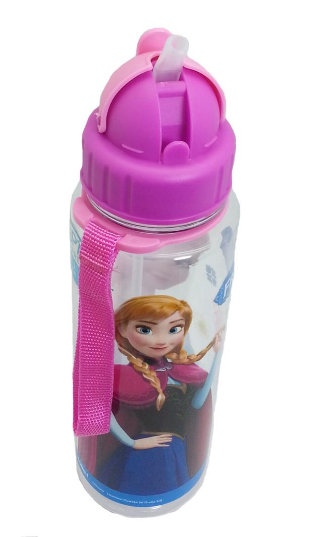 DISNEY FROZEN LOVELY PURPLE 650ML TRITAN BOTTLE WITH STRAW * BPA FREE