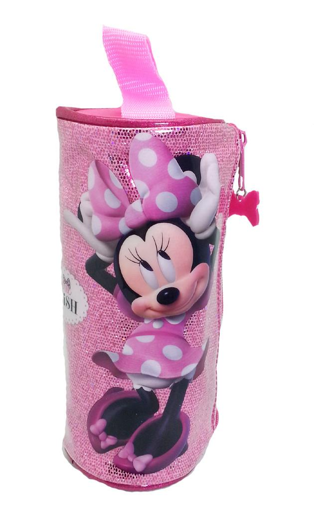 DISNEY MINNIE MOUSE SPARKLING STYLISH ROUND PENCIL BAG * W21xDIA8(CM)