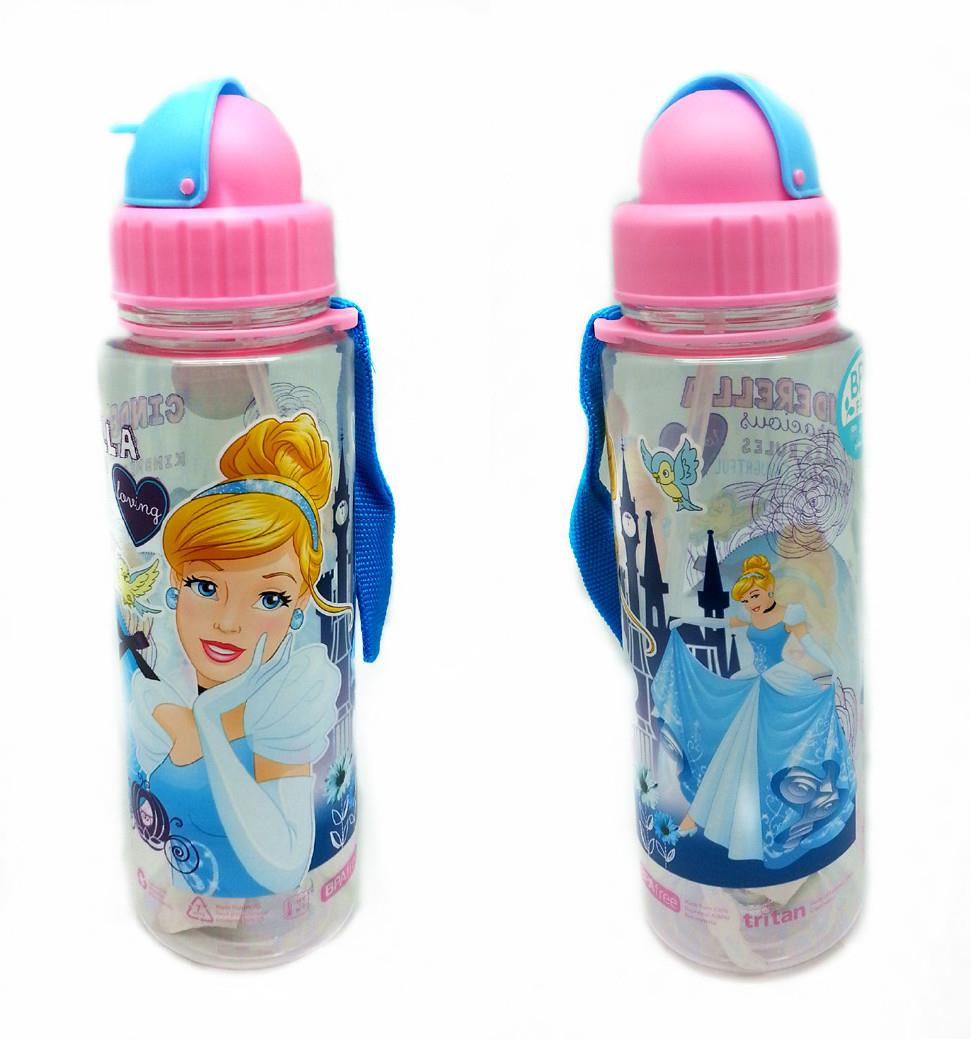 DISNEY PRINCESS CINDERELLA 650ML TRITAN BOTTLE WITH STRAW * BPA FREE