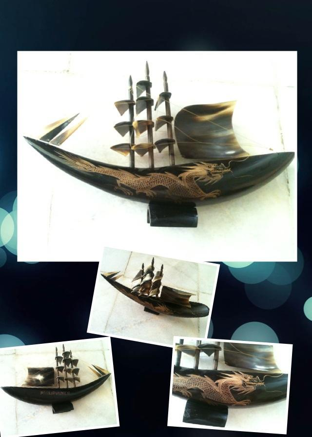 Display item -(Free Shipping) Ox Horn w/ Carving Dragon Sailing Ship