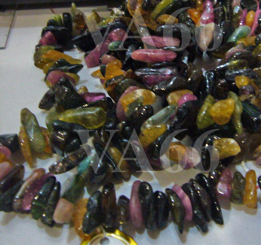 "DIY 15"" Multi Color Tourmaline Gemstone Teeth Stick Shape Top Drilled"