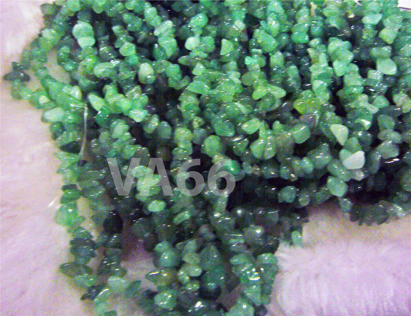 "DIY 35"" Green Aventurine Gemstone Chips Genuine Gemstones Full Strand"