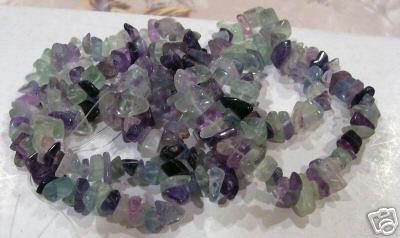 "DIY 38"" Mixed Fluorite Gemstone Chips Genuine"