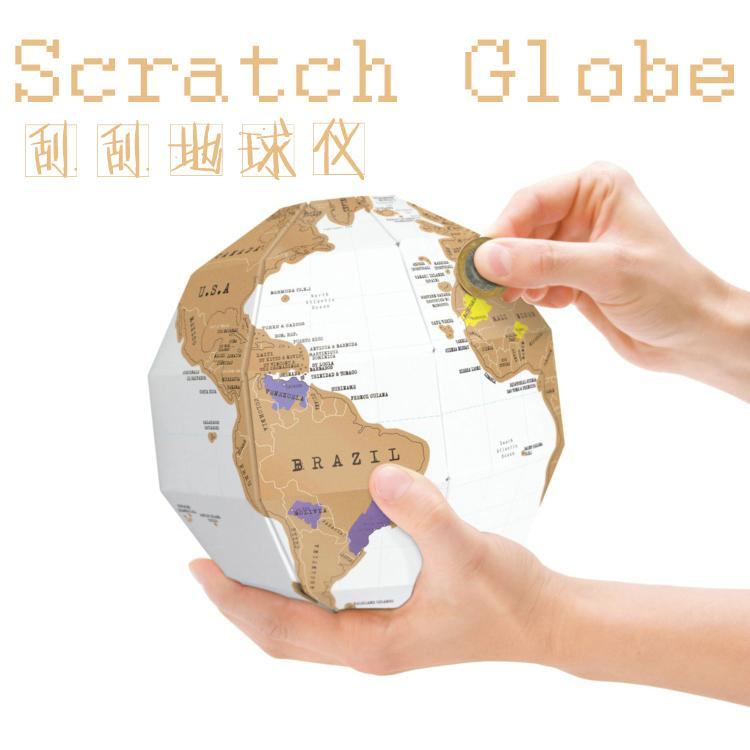 DIY 3D World Map Scratch Globe Creative gift