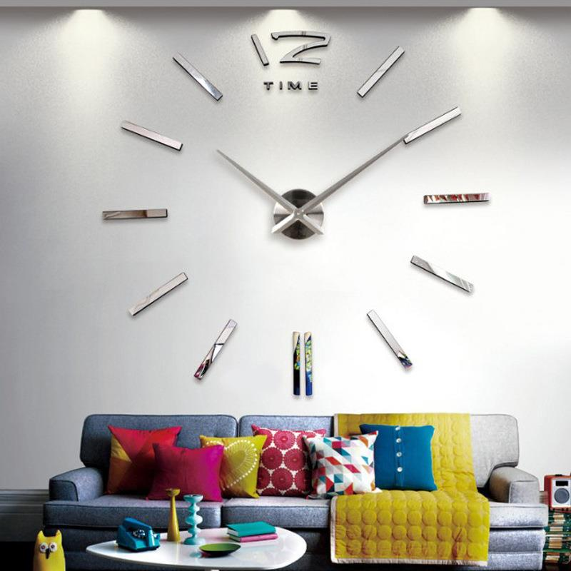 DIY Living Room Large Quartz Acrylic Mirror Wall clock 3D Roman Numera