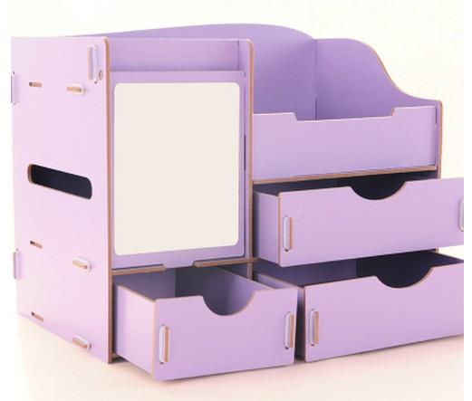 DIY Wooden Cosmetic Box Organizer with Mirror & Tissue