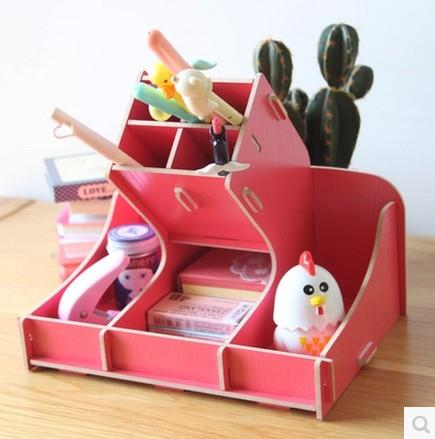 DIY Wooden Office Desk Organizer Box