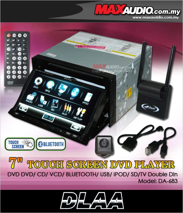 DLAA DA-683 7' Double Din DVD/B.T/IPOD/USB/TV + TV Antenna+Rear Camera
