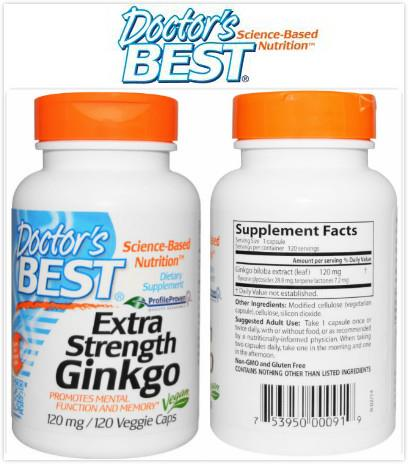 Doctor's Best, Extra Strength Ginkgo, 120 mg (120 Vcaps)