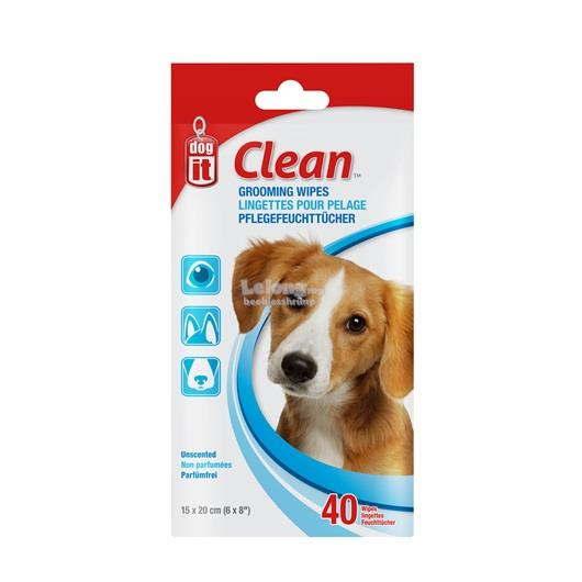 Dogit Clean Grooming Wipes - Unscented - 40 pack - 15 x 20 cm