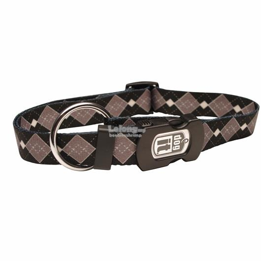 Dogit Style Nylon Print Dog Collar - Argyle - Grey - Medium