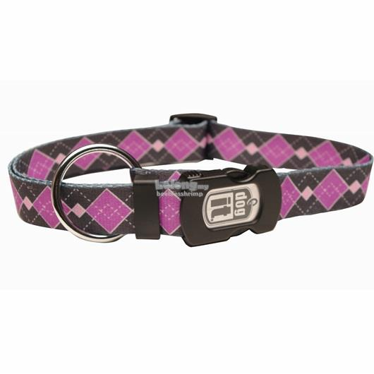 Dogit Style Nylon Print Dog Collar - Argyle - Purple - Medium
