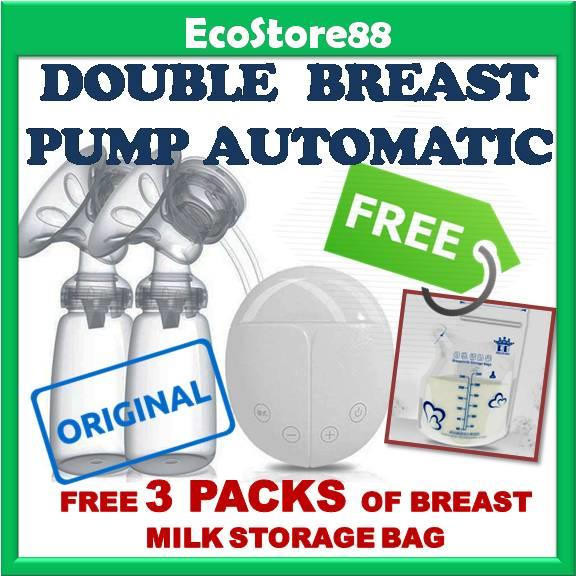 Double Breast Pump Automatic + Free 3 Packs Breast Milk Storage Bag