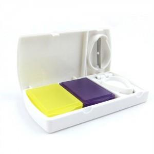 Double Colour Box Square Shape Pill Case with Blade
