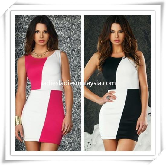Double colour tone tight dress