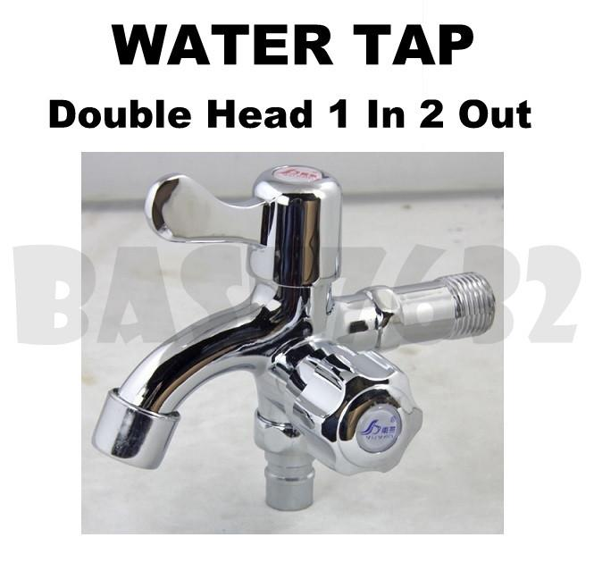 Double Head 1 In 2 Out Brass Wall Water Tap Faucet Double Handle