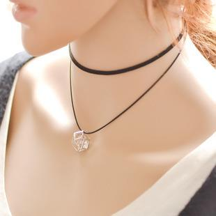 Double lint-free with ethnic pendants necklace choker woman accessorie