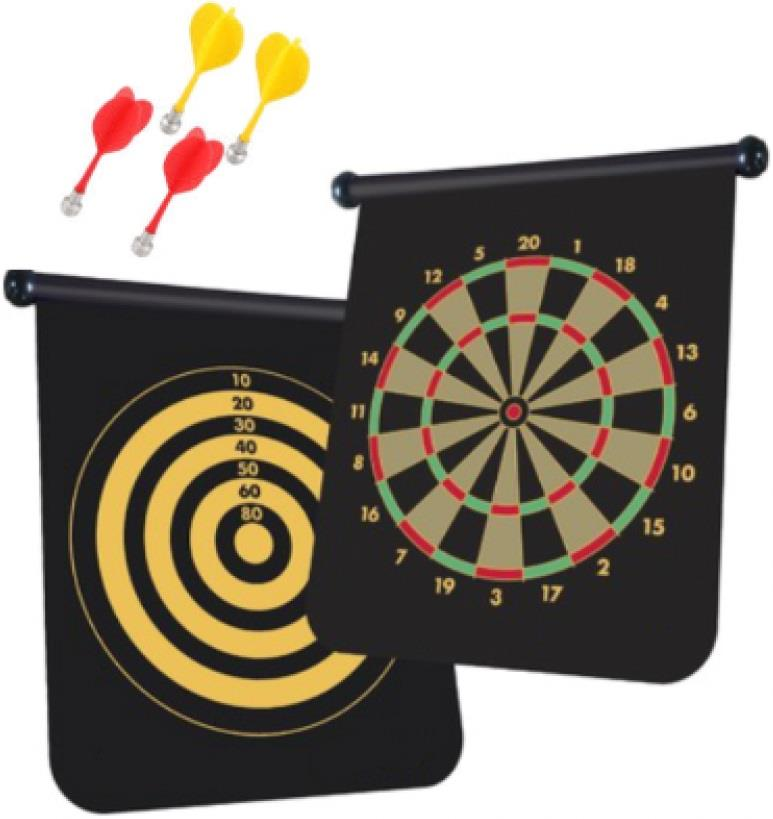 Double Sided Magnetic Dart board (Free 4 Darts)