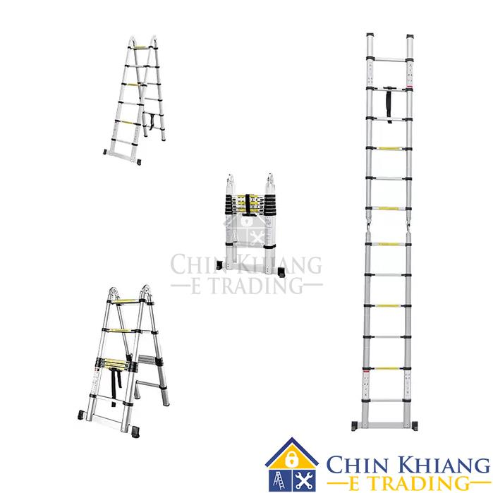 Double-Sided Telescopic Extendable Aluminium Pole Ladder 12 Steps