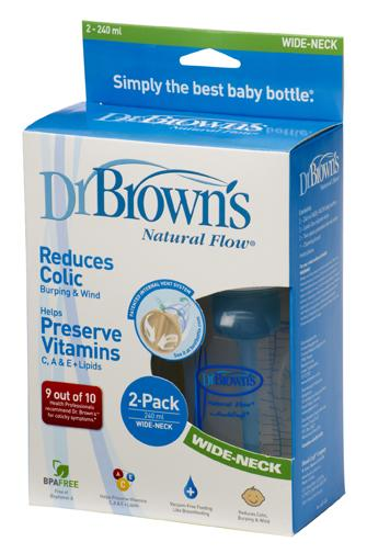 Dr Brown Wide Neck 8oz / 240ml Bottle BPA Free Twin Pack