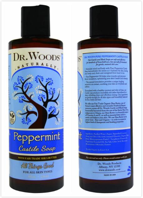 Dr. Woods, Peppermint Castile Soap, Fair Trade Shea Butter (236 ml)