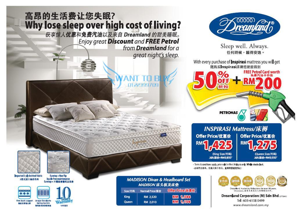 Dreamland mattress promotion sales 50 discount with rm200 for Best time for mattress sales