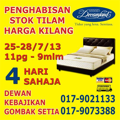 Dreamland Mattress Warehouse Clerance Sale at Gombak